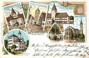 AK / Ansichtskarte Weissenhorn Oberes Thor Unteres Thor Stadtpfarrkirche Kriegerdenkmal Kat. Weissenhorn