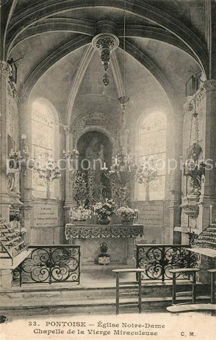 AK / Ansichtskarte Pontoise  Val d Oise Eglise Notre Dame Chapelle de la Vierge Miraculeuse Kat. Pontoise