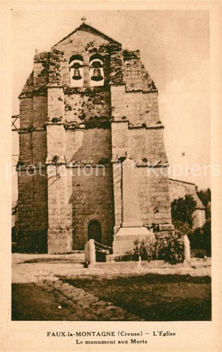 AK / Ansichtskarte Faux la Montagne Eglise Le monument aux Morts Kat. Faux la Montagne