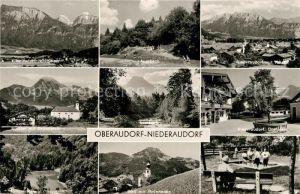 AK / Ansichtskarte Niederaudorf Gesamtansicht mit Kaisergebirge Auerbach Kloster Dorfplatz Kneippbad Luegsteinsee Kat. Oberaudorf