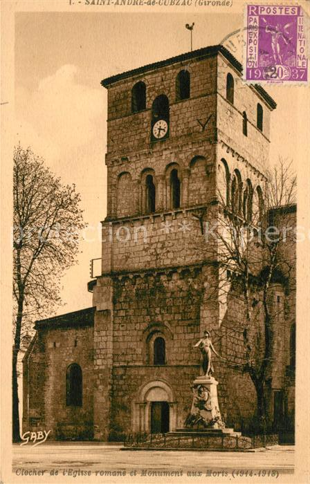 AK / Ansichtskarte Saint Andre de Cubzac Clocher de Eglise Monument aux Morts Kat. Saint Andre de Cubzac