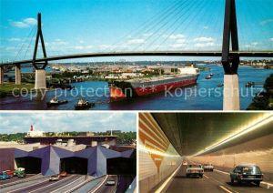 AK / Ansichtskarte Bruecken Bridges Ponts Koehlbrandhochbruecke Hamburg Neuer Elbtunnel