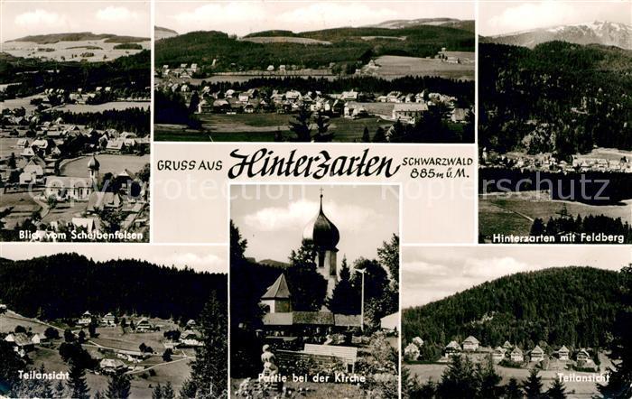 AK / Ansichtskarte Hinterzarten Kirche Panorama Blick vom Scheibenfelsen Feldberg Schwarzwald Kat. Hinterzarten