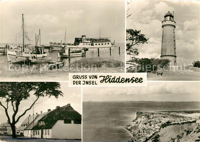 AK / Ansichtskarte Insel Hiddensee Vitte Hafen Faehre Fischkutter Leuchtturm Neuendorf Steilkueste Fliegeraufnahme Kat. Insel Hiddensee