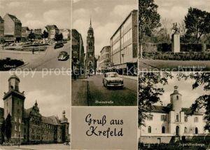 AK / Ansichtskarte Krefeld Ostwall Rheinstrasse Husarendenkmal Jugendherberge Amtsgericht Kat. Krefeld