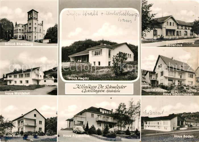 AK / Ansichtskarte Gailingen Kliniken Dr Schmieder Schloss Rheinburg Kat. Gailingen am Hochrhein