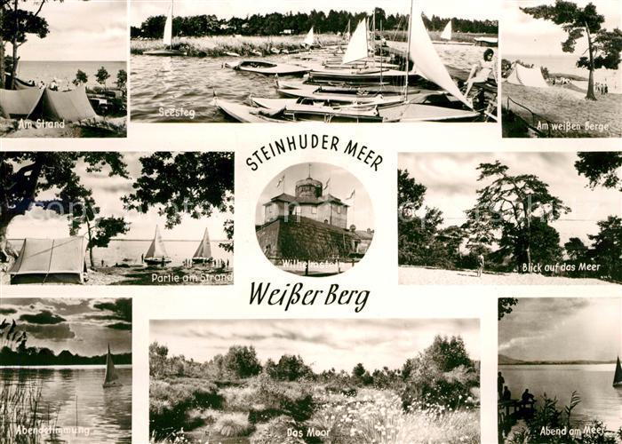 AK / Ansichtskarte Steinhuder Meer Weisser Berg Strand Seesteg Wilhelmstein Abendstimmung Moor Abendstimmung Kat. Wunstorf