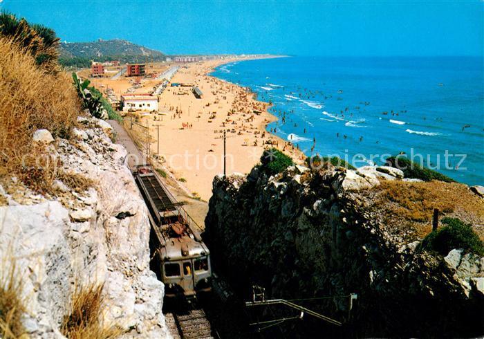 AK / Ansichtskarte Castelldefels Strand Eisenbahn  Kat. Costa Brava