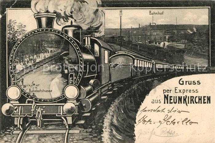 AK / Ansichtskarte Neunkirchen Saar Bahnhof Dampflok Kat. Neunkirchen