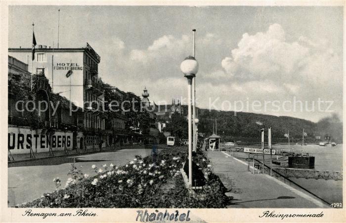 AK / Ansichtskarte Remagen Rheinpromenade Hotel Fuerstenberg Kat. Remagen