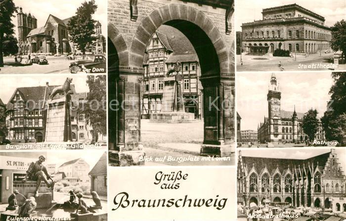 AK / Ansichtskarte Braunschweig Dom Burgplatz Loewe Gildehaus Eulenspiegelbrunnen Staatstheater Rathaus Kat. Braunschweig