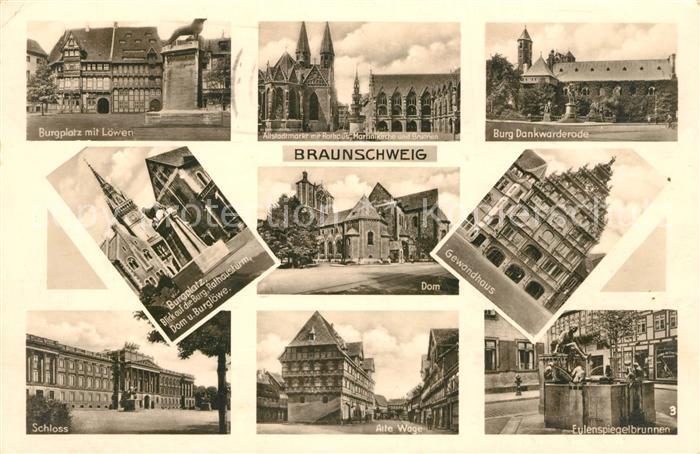 AK / Ansichtskarte Braunschweig Burgplatz Loewe Markt Rathaus Kirche Brunnen Burg Dankwarderode Dom Gewandhaus Alte Waage Eulenspiegelbrunnen Kat. Braunschweig