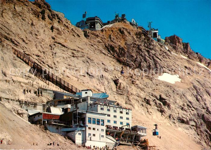 AK / Ansichtskarte Zugspitze Schneefernerhaus mit Gipfelblick und Bergstation Kat. Garmisch Partenkirchen