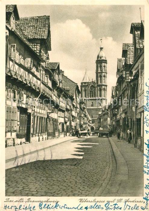 AK / Ansichtskarte Alt Braunschweig Weberstrasse mit St Andreas Kirche Nr 4002