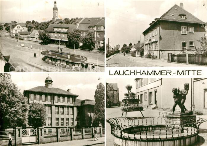 AK / Ansichtskarte Lauchhammer Wilhelm Pieck Platz Postamt Oberschule Kleinleipische Strasse Brunnen Kat. Lauchhammer