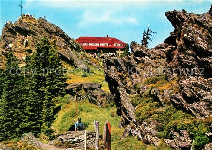 AK / Ansichtskarte Bayerischer Wald Schutzhaus auf dem Grossen Osser Gipfelkreuz