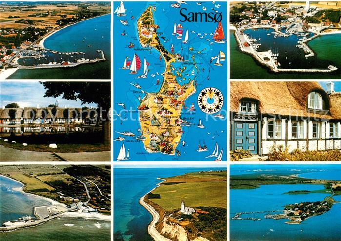 AK / Ansichtskarte Samso Fliegeraufnahmen Hafen Leuchtturm Inselkarte Kat. Kattegat