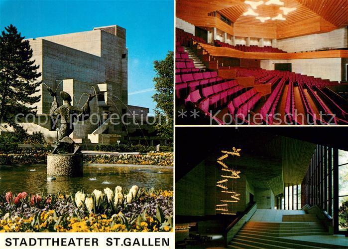 AK / Ansichtskarte St Gallen SG Stadttheater Der Zauberer im Stadtpark Skulptur Kat. St Gallen