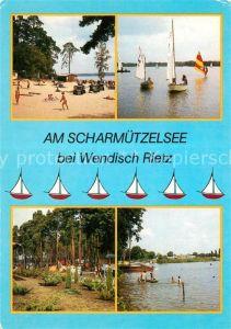 AK / Ansichtskarte Wendisch Rietz Badestrand Camping Segeln Scharmuetzelsee Kat. Wendisch Rietz