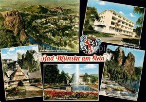 AK / Ansichtskarte Bad Muenster Stein Ebernburg Fliegeraufnahme Baederhaus Parksanatorium Kurpark Kurhaus Rheingrafenstein Kat. Bad Muenster am Stein Ebernburg