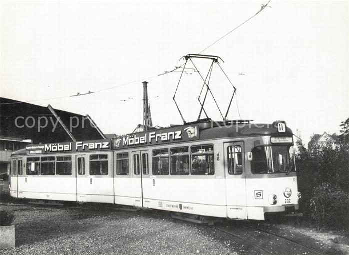 Ak Ansichtskarte Strassenbahn Tw 232 Mainz Kat Strassenbahn Nr