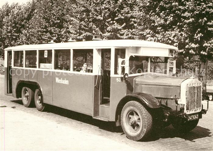 ak ansichtskarte autobus omnibus oldtimer 1929 daimler benz wiesbaden kat autos nr kn66135. Black Bedroom Furniture Sets. Home Design Ideas