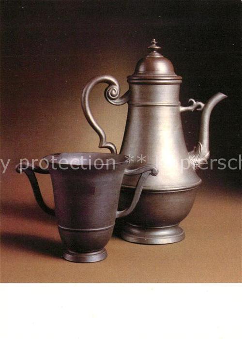 AK / Ansichtskarte Antiquitaeten Kaffeekanne und Tasse Boettgersteinzeug Meissen um 1710 1712