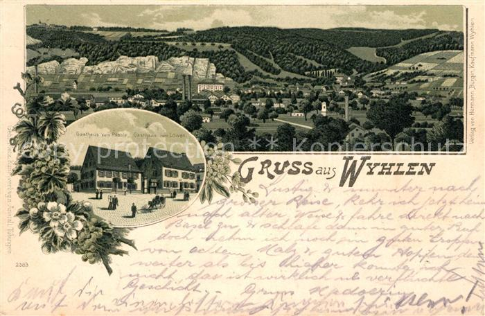 AK / Ansichtskarte Wyhlen Gasthaus zum Roessle Gasthaus zum Loewen Litho Kat. Grenzach Wyhlen