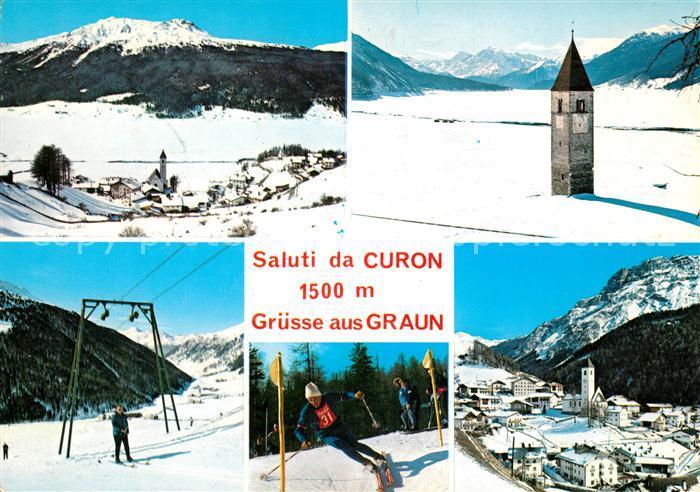 AK / Ansichtskarte Graun Panorama Kirchturmspitze Seilbahn Slalom