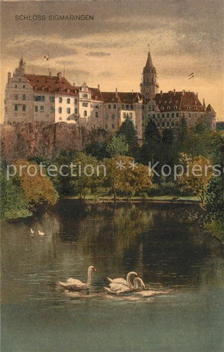 AK / Ansichtskarte Sigmaringen Schloss Sigmaringen Schwanenteich Kat. Sigmaringen