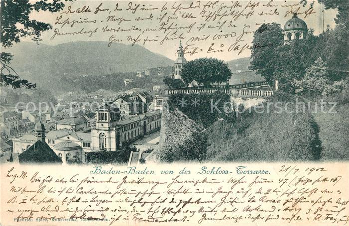 AK / Ansichtskarte Baden Baden Blick von der Schloss Terrasse Kat. Baden Baden