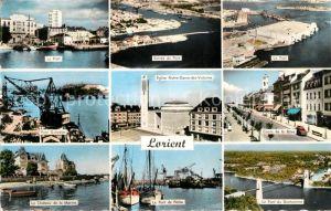 AK / Ansichtskarte Lorient Morbihan Bretagne Port Pont Eglise Cours de la Bove Chateau vue aerienne Kat. Lorient