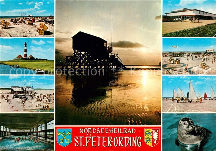 St Peter Ording Strand Leuchtturm Wellenbad Abendstimmung am Meer Seehund Strandsegeln Kat. Sankt Peter Ording