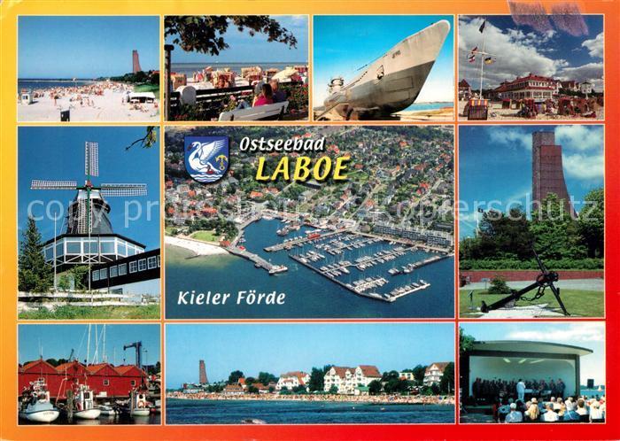 AK / Ansichtskarte Laboe Strand Windmuehle Hafen U Boot Ehrenmal Konzertpavillon Fliegeraufnahme Kat. Laboe