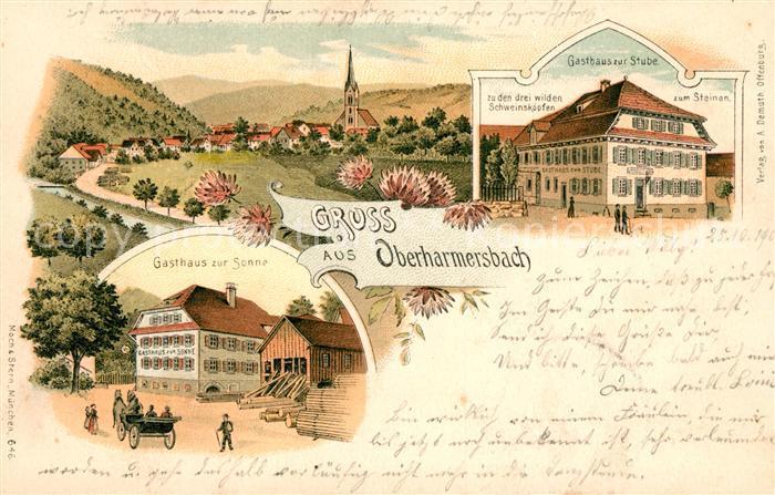 AK / Ansichtskarte Oberharmersbach Gasthaus zur Sonne Gasthaus zur Stube Litho Kat. Oberharmersbach