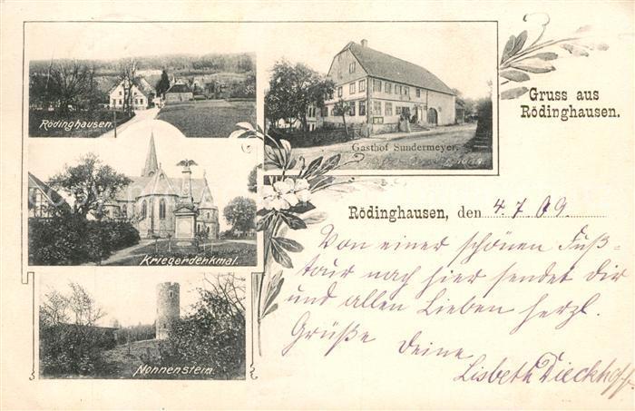 AK / Ansichtskarte Roedinghausen Gasthof Sundermeyer Nonnenstein Kriegerdenkmal  Kat. Roedinghausen