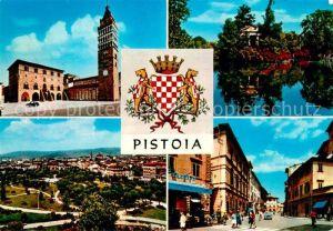 AK / Ansichtskarte Pistoia Stadtpanorama Strassenpartie Partie am Wasser Kirche Wappen Kat. Italien