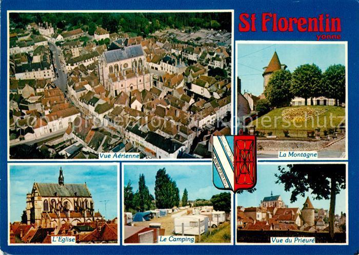 AK / Ansichtskarte Saint Florentin Yonne Vue aerienne La Montagne Eglise Camping vue du Prieure Kat. Saint Florentin
