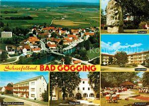 AK / Ansichtskarte Bad Goegging Fliegeraufnahme Kurpark Trajansbad Kurkonzert Roemerbad Kurheim Kat. Neustadt a.d.Donau