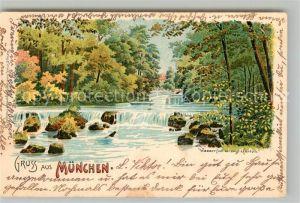 AK / Ansichtskarte Muenchen Wasserfall im englischen Garten Kat. Muenchen