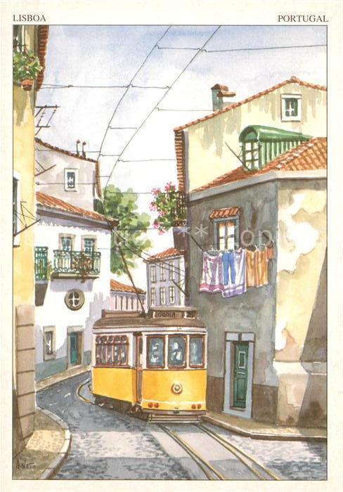 AK / Ansichtskarte Lisboa Aguarelas Rua Tipica de Alfama Kuenstlerkarte Kat. Portugal