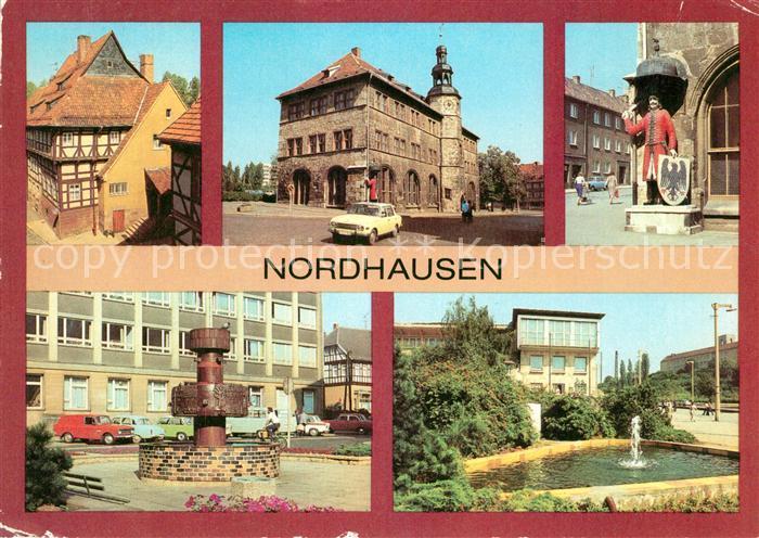 Nordhausen Thueringen Rathaus Brunnen Denkmal Roland Kat. Nordhausen Harz