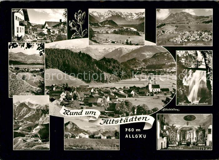 AK / Ansichtskarte Altstaedten Allgaeu Malerwinkel Wasserfall Nebelhorn Pfarrkirche Panoramen