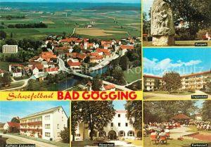 AK / Ansichtskarte Bad Goegging Schwefelbad Fliegeraufnahme Kurpark Trajansbad Kurkonzert Kurheim Roemerbad Kat. Neustadt a.d.Donau