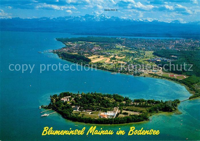 Insel Mainau Karte.Ak Ansichtskarte Insel Mainau Blumeninsel Alpenpanorama Fliegeraufnahme Kat Konstanz Bodensee