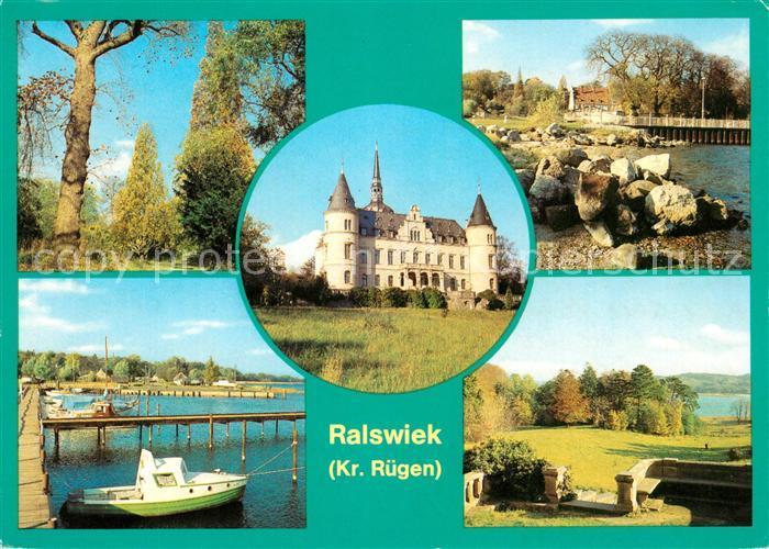 AK / Ansichtskarte Ralswiek Park Schloss jetzt Feierabendheim Jasmunder Bodden Landschaftspanorama Kat. Ralswiek