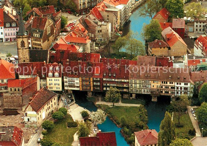 AK / Ansichtskarte Erfurt Kraemerbruecke Fliegeraufnahme Kat. Erfurt