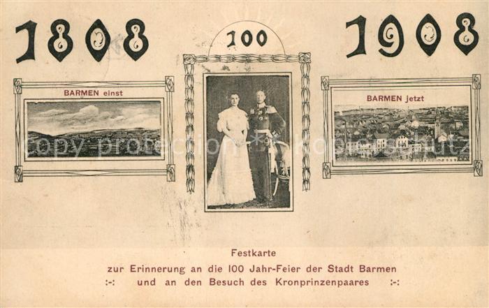 AK / Ansichtskarte Barmen Wuppertal Festkarte 100 Jahre Feier Kat. Wuppertal