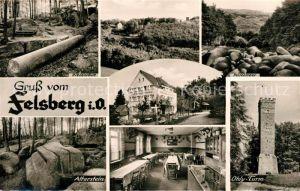 AK / Ansichtskarte Felsberg Odenwald Wald Restaurant Pension auf dem Felsberg Ohly Turm Kat. Lautertal (Odenwald)