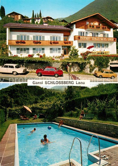 AK / Ansichtskarte Lana Merano Suedtirol Pension Schlossberg Swimming Pool